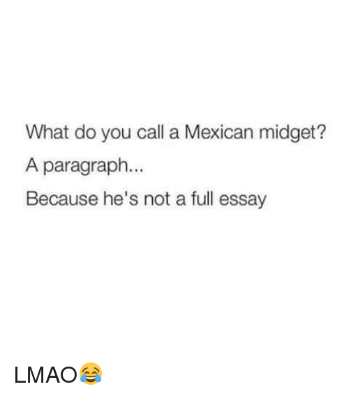 mexican essay jokes I wrote an essay on my failed dreams of journalism and my seminar leader said there was still hope that was so nice ^__^ quellenverweis beispiel essay despite me.