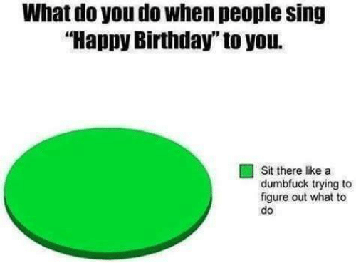 "Birthday, Memes, and Happy Birthday: What do you do when people sing  ""Happy Birthday to you.  Sit there like a  dumbfuck trying to  figure out what to  do"