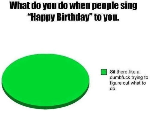 """Birthday, Funny, and Singing: What do you do When people sing  """"Happy Birthday"""" to you.  Sit there like a  dumbfuck trying to  figure out what to  do"""