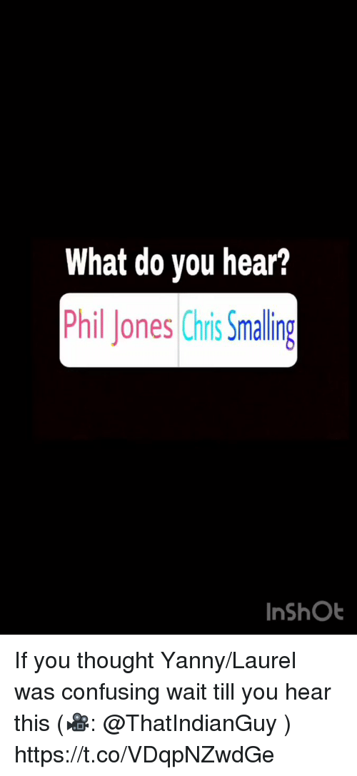Memes, Thought, and 🤖: What do you hear?  Phil Jones Chis Smaling  InShOb If you thought Yanny/Laurel was confusing wait till you hear this (🎥: @ThatIndianGuy )  https://t.co/VDqpNZwdGe