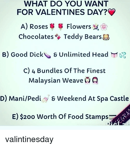 memes weave and food stamps what do you want for valentines day