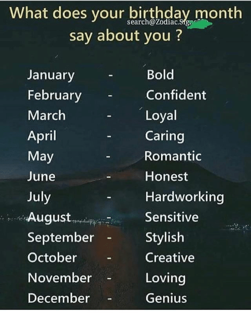 What Does Your Birthday Month Say About You ? Search@ZodiacSigvc