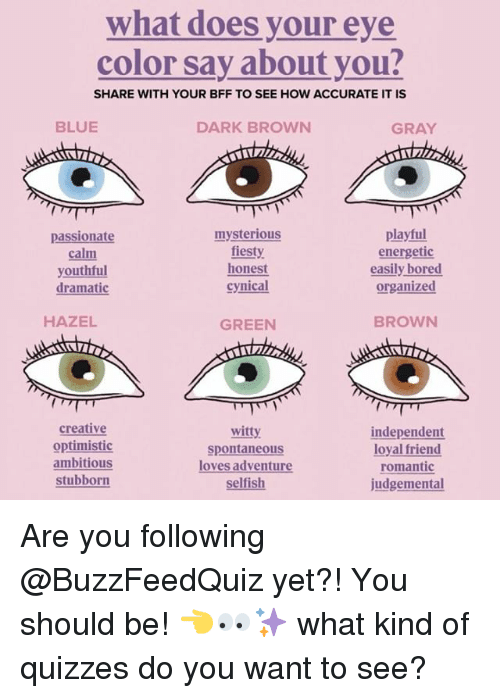 Bored, Blue, and Cynical: what does your eye  color say about you?  SHARE WITH YOUR BFF TO SEE HOW ACCURATE IT IS  BLUE  DARK BROWN  GRAY  passionate  calm  youthfu  mysterious  fiesty  honest  cynical  playful  energetic  easily bored  organized  dramatic  HAZEL  GREEN  BROWN  creative  optimistic  ambitious  stubborn  witty  spontaneous  loves adventur  independent  loyal friend  romantic  judgemental  elfish Are you following @BuzzFeedQuiz yet?! You should be! 👈👀✨ what kind of quizzes do you want to see?
