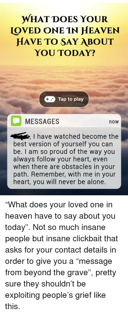 What Does Your Loved One In Heaven Have To Say About You Today Tap