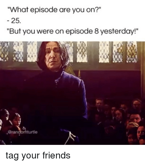 "Memes, 🤖, and Turtles: ""What episode are you on?""  25.  ""But you were on episode 8 yesterday!""  Carandon turtle tag your friends"