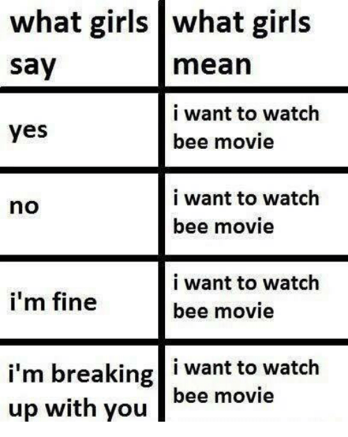 Bee Movie, Girls, and Mean: what girls what girls  say  mean  i want to watch  bee movie  yes  i want to watch  bee movie  no  i want to watch  bee movie  i'm fine  i'm breaking i want to watch  up with youbee movie