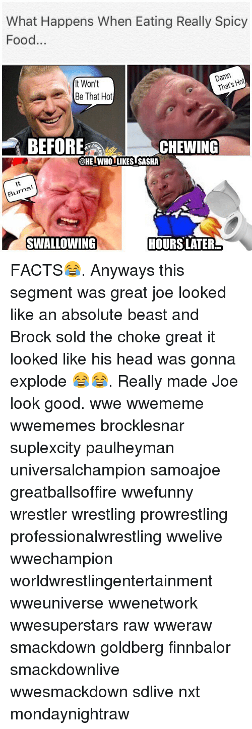 Facts, Food, and Head: What Happens When Eating Really Spicy  Food...  t Won't  Be That Hot  Damn  That's Hot  BEFORE  CHEWING  To  @HELWHOITKES SASHA  @HEIWHO LIKES SASHA  It  Burns  SWALLOWING  HOURS LATER FACTS😂. Anyways this segment was great joe looked like an absolute beast and Brock sold the choke great it looked like his head was gonna explode 😂😂. Really made Joe look good. wwe wwememe wwememes brocklesnar suplexcity paulheyman universalchampion samoajoe greatballsoffire wwefunny wrestler wrestling prowrestling professionalwrestling wwelive wwechampion worldwrestlingentertainment wweuniverse wwenetwork wwesuperstars raw wweraw smackdown goldberg finnbalor smackdownlive wwesmackdown sdlive nxt mondaynightraw