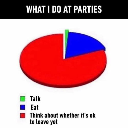 Dank, 🤖, and Think: WHAT I DO AT PARTIES  Talk  Eat  Think about whether it's ok  to leave yet
