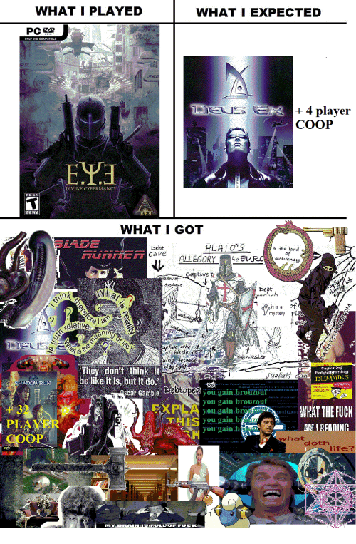 "Be Like, Fuck You, and Run: WHAT I PLAYED  WHAT I EXPECTED  ONLY DVD COMPATIBLE  + 4 player  COOP  IVIN  WHAT I GOT  pebt  PLATO  of  captive r  cta  Deot  it is a  of  este  elative  Eet  an/  is  of hisde  uinster  They don't think it  be like it is, but it do.  car Gamble  Sunliaht  Prog anarving  DUIMMIES  RUN  ""nr.ui..u.rwy'ka., Ús.u  you gain brouzouit  you gain 1)  you gain b  EXRİ  +32  PLAYER  COOP  NHAT THE FUCK  you gain bwNIREANINC  whatdothire"