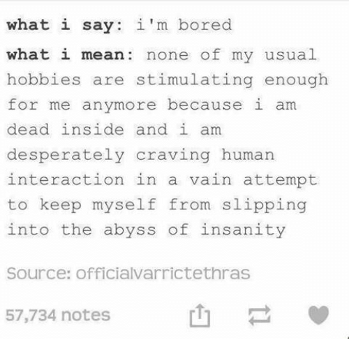 Bored, Mean, and Insanity: what i say  what i mean none of my usual  hobbies are stimulating enough  for me anymore because i am  dead inside and i am  desperately craving human  interaction in a vain attempt  to keep myself from slipping  into the abyss of insanity  im bored  Source: officialvarrictethras  57,734 notes  山-