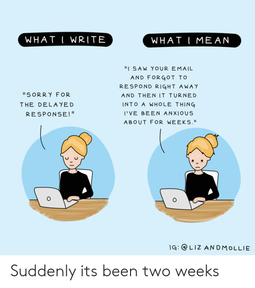 """Saw, Sorry, and Email: WHAT I WRITE  WHAT IMEAN  """"I SAW YOUR EMAIL  AND FORGOT TOo  RESPOND RIGHT AWAY  AND THEN IT TURNED  INTO A WHOLE THING  I'VE BEEN ANXIOUS  ABOUT FOR WEEKS.  SORRY FOR  THE DELAYED  RESPONSE!  q: LIZ ANDMoLLIE Suddenly its been two weeks"""