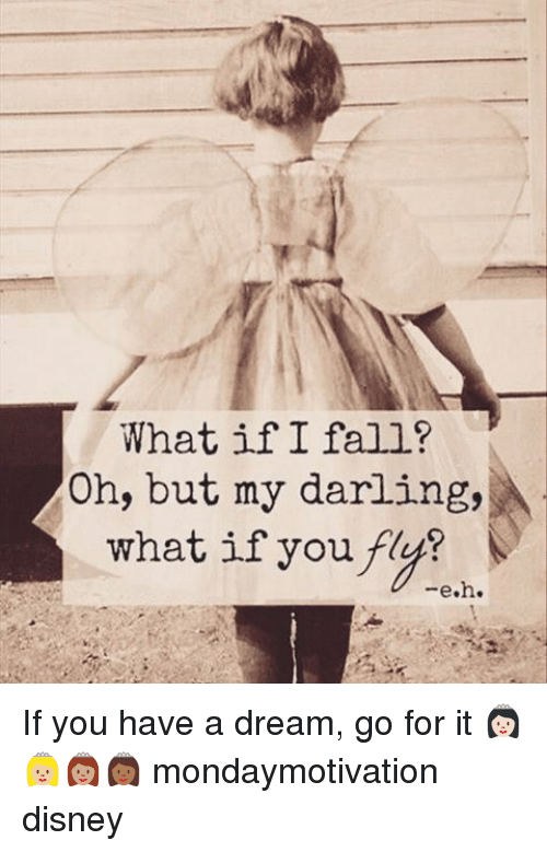 A Dream, Memes, and 🤖: What if I fall?  Oh, but my darling,  what if you fly?  e.h. If you have a dream, go for it 👸🏻👸🏼👸🏽👸🏾 mondaymotivation disney