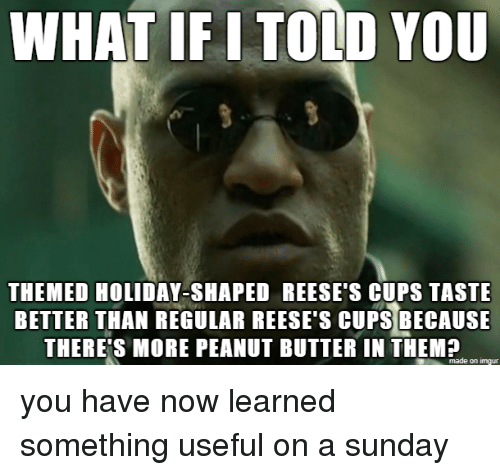 Reese's, Imgur, and Sunday: WHAT IF I TOLD YOU  THEMED HOLIDAY-SHAPED REESE'S CUPS TASTE  BETTER THAN REGULAR REESE'S CUPS BECAUSE  THERE'S MORE PEANUT BUTTER IN THEM?  made on imgur