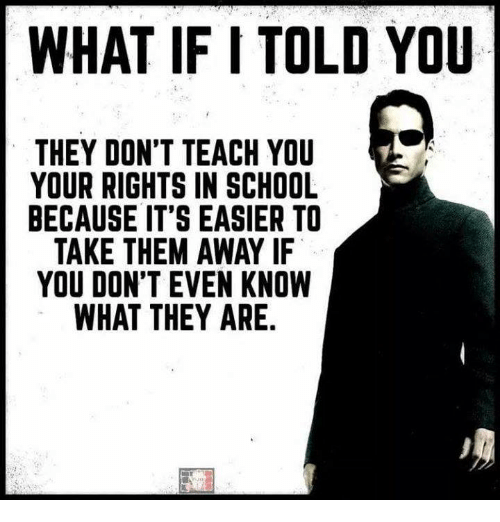 School, Them, and They: WHAT IF I TOLD YOU  THEY DON'T TEACH YOU  YOUR RIGHTS IN SCHOOL  BECAUSE IT'S EASIER TO  TAKE THEM AWAY IF  YOU DON'T EVEN KNOW  WHAT THEY ARE.