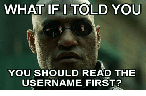 First, You, and What: WHAT IF I TOLD YOU  YOU SHOULD READ THE  USERNAME FIRST?