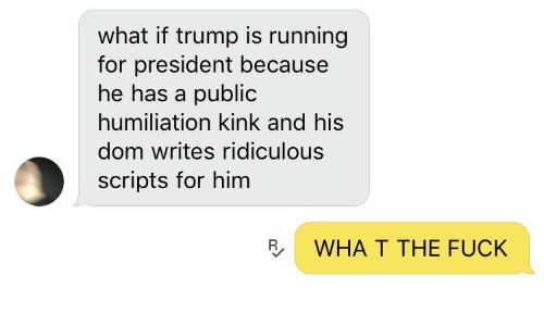 Fuck, Trump, and Running: what if trump is running  for president because  he has a public  humiliation kink and his  dom writes ridiculous  scripts for him  R  WHA T THE FUCK