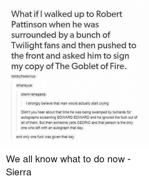 Memes, 🤖, and Robert Pattinson: What if walked up to Robert  Pattinson when he was  surrounded by a bunch of  Twilight fans and then pushed to  the front and asked him to sign  my copy of The Goblet of Fire  dobbyfredsirius:  drkarayua:  silent-renegade:  strongly believe that man would actually start crying  Didn't you hear about that time he was being swamped by twihards for  autographs screaming EDWARD EDWARD and he ignored the fuck out of  all of them. But then someone yells CEDRIC and that person is the only  one who left with an autograph that day.  and only one fuck was given that day We all know what to do now - Sierra