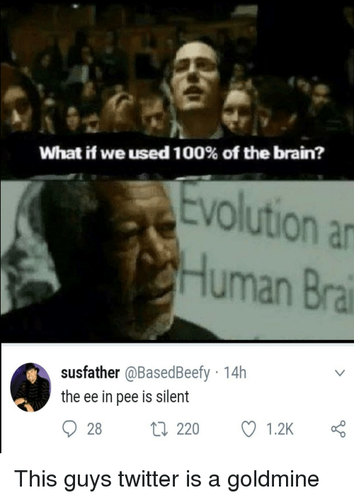 Anaconda, Twitter, and Brain: What if we used 100% of the brain?  Evolution a  Human Bra  susfather @BasedBeefy 14h  the ee in pee is silent  28 t 220  1.2K This guys twitter is a goldmine