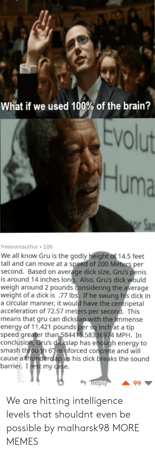 Anaconda, Bailey Jay, and Dank: What if we used 100% of the brain?  VO  Huma  treasureauthor 18h  We all know Gru is the godly height of 14.5 feet  tall and can move at a speed of 200 Meters per  second. Based on average dick size, Gru's penis  is around 14 inches long. Also, Gru's dick would  weigh around 2 pounds considering the average  weight of a dick is .77 Ibs. If he swung his dick in  a circular manner, it would have the centripetal  acceleration of 72.57 meters per second. This  means that gru can dickslap with the immense  energy of 11,421 pounds per sq inch at a tip  speed greater than 584415.58336974 MPH. In  conclusion, Gru's dickslap has enough energy to  smash through 6einforced concrete and will  cause athunderdlap as his dick breaks the sound  barrier. I rest my case  eply We are hitting intelligence levels that shouldnt even be possible by malharsk98 MORE MEMES