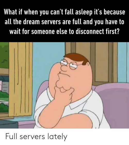 Fall, All The, and The Dream: What if when you can't fall asleep it's because  all the dream servers are full and  have to  you  wait for someone else to disconnect first? Full servers lately