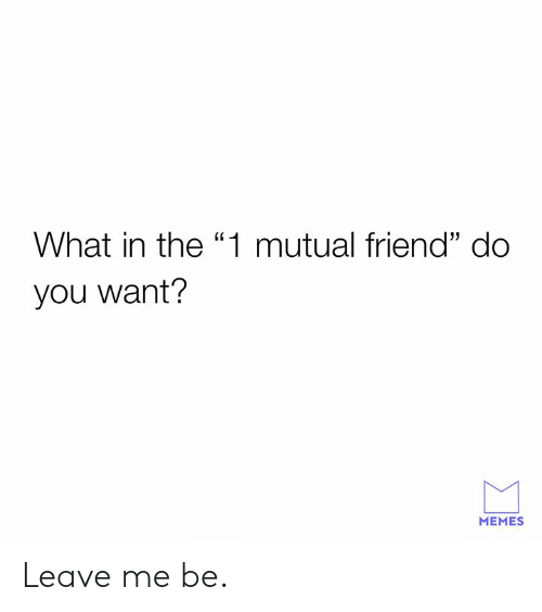 """Dank, Memes, and 🤖: What in the """"1 mutual friend"""" do  you want?  MEMES Leave me be."""