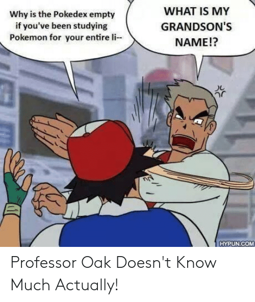 Pokemon, What Is, and Been: WHAT IS MY  GRANDSON'S  NAME!?  Why is the Pokedex empty  if you've been studying  Pokemon for your entire li  HYPUN COM Professor Oak Doesn't Know Much Actually!