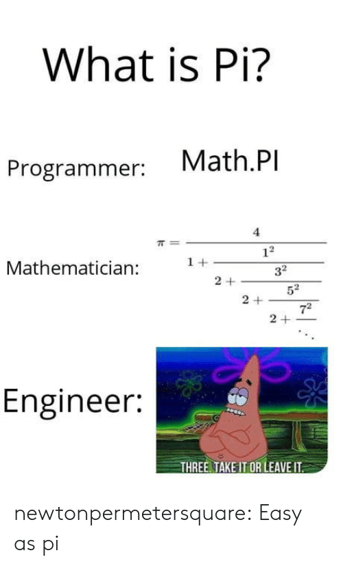 Tumblr, Blog, and Math: What is Pi?  Math.Pl  Programmer: vMa  4  Mathematician +32  5  2 +  7  Engineer:  THREE TAKE IT OR LEAVE IT newtonpermetersquare:  Easy as pi