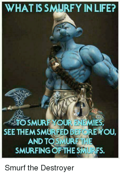 Life, Reddit, and What Is: WHAT IS SMURFY IN LIFE?  SMURF YOUR ENEMIES  SEE THEMSMURFED BEFORE OU  AND TO THE  SMURFING OF THE SMURFS.  SMURF