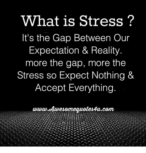 Memes, The Gap, and What Is: What is Stress?  It's the Gap Between Our  Expectation & Reality  more the gap, more the  Stress so Expect Nothing &  Accept Everything  u.com