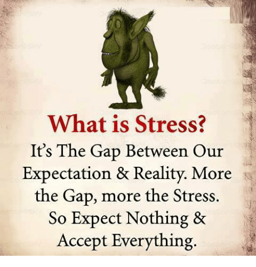 Memes, The Gap, and What Is: What is Stress?  It's The Gap Between Our  Expectation & Reality. More  the Gap, more the Stress.  So Expect Nothing &  Accept Everything