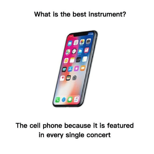 Phone, Best, and What Is: What is the best instrument?  12  The cell phone because it is featured  in every single concert
