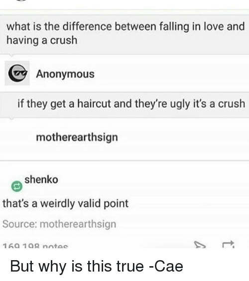 The difference between love and a crush