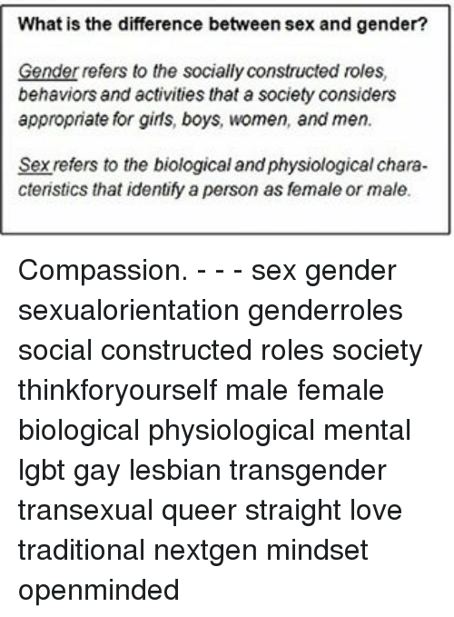 Sex and gender socially constructed