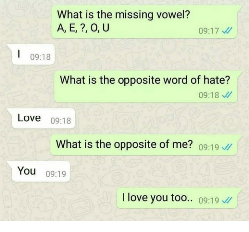 Love I Love You And What Is What Is The Missing Vowel