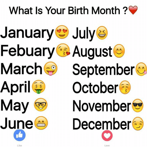 What Is Your Birth Month January July Febuary August March