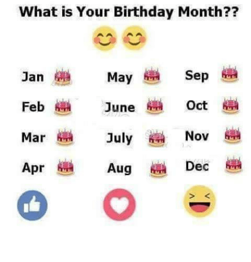 What Is Your Birthday Month Sep Jan May Feb June Oct Nov Mar July