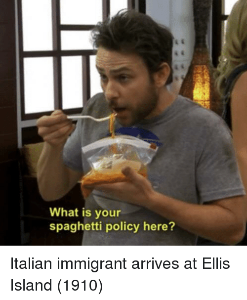 Spaghetti, What Is, and Ellis Island: What is your  spaghetti policy here? Italian immigrant arrives at Ellis Island (1910)