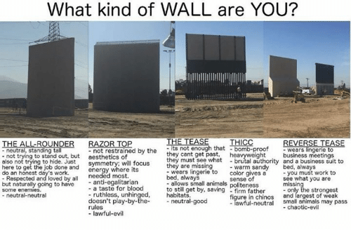 Animals, Energy, and Memes: What kind of WALL are YOU?  RAZOR T  - not restrained by the  aesthetics of  symmetry; will focus  energy where its  THE TEASE  -its not enough that bomb-proof  they cant gt pt heavyweightbusiness meetings  REVERSE TEASE  -wears lingerie t  UND  - neutral, standing ta  - not trying to stand out, but  also not t  here to get the job done and  do an honest day's work.  they must see what  they are missing  -brutal  - warm sandy bed, alwa  to hide. Just  authority and a business suit to  you must work to  see what you are  needed most.  - anti-egalitarian  - a taste for blood  - ruthless, unhinged,  doesn't play-by-the  rules  - lawful-evil  wears lingerie to color gives a  bed, always  - allows small animals politeness  to still get by, sa  habitats  Respected and loved by all  but naturally going to have  some enemies.  - neutral-neutral  sense of  strongest  - firm father-  figure in chinos and largest of weak  - Tawful-neutral small animals may pass  neutral-good  -chaotic-evil