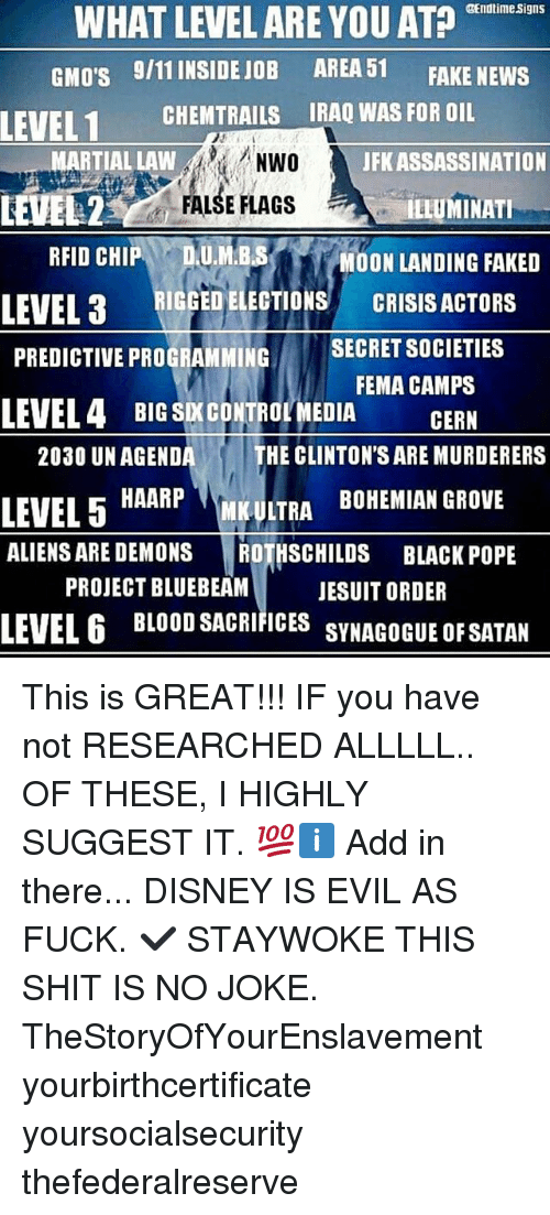 WHAT LEVEL ARE YOU AT? Signs GMO's 911 INSIDE JOB AREA 51 FAKE NEWS