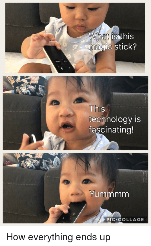 Funny, Collage, and Magic: What  magic stick?  is this  Th  technology is  fascinatina!  Yummmrm  PIC COLLAGE