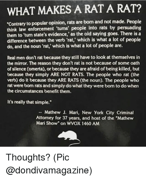 """Memes, New York, and Mirror: WHAT MAKES A RAT A RAT?  Contrary to popular opinion, rats are born and not made. People  think law  them to 'turn state's evidence,' as the old saying goes. There is a  difference between the verb 'rat,' which is what a lot of people  do, and the noun 'rat,' which is what a lot of people are.  enforcement 'turns' people into rats by persuading  Real men don't rat because they still have to look at themselves in  the mirror. The reason they don't rat is not because of some oath  of silence (omerta), or because they are afraid of being killed, but  because they simply ARE NOT RATS. The people who rat (the  verb) do it because they ARE RATS (the noun). The people who  rat were born rats and simply do what they were born to do when  the circumstances benefit them.  It's really that simple.""""  Mathew J. Mari, New York City Criminal  Attorney for 37 years, and host of the """"Mathew  Mari Show"""" on WVOX 1460 ANM Thoughts? (Pic @dondivamagazine)"""