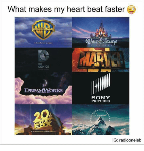 Memes, Sony, and Heart: What makes my heart beat faster  ALT DISNE  ATimrMarner Company  COMICS  DREAMWORKS  SONY  PICTURES  ANrws CORPORATION COM ANY  IG: radiooneleb