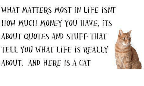 What Matters Most In Life Is Nt How Much Money You Have Its About