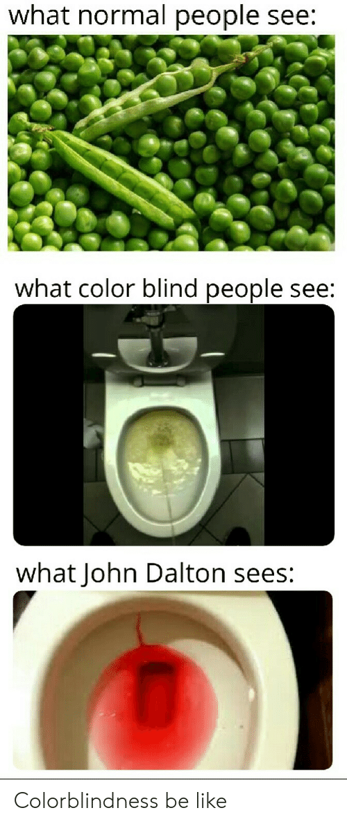 Be Like, Reddit, and Color: what normal people see:  what color blind people see:  what John Dalton sees: Colorblindness be like
