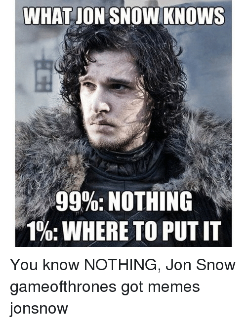 Game of Thrones, Meme, and Memes: WHAT ON SNOW KNOWS  99%: NOTHING  1%: WHERE TO PUT IT You know NOTHING, Jon Snow gameofthrones got memes jonsnow