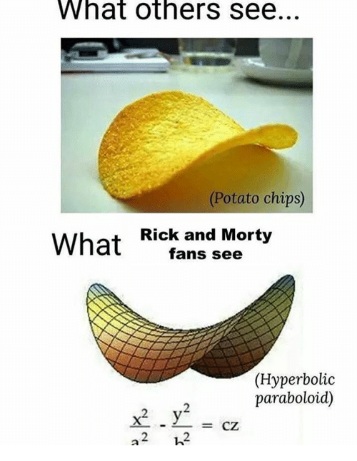 Potato, Dank Memes, and Chips: What others see  Potato chips)  What Kick.nn Morty  fans see  (Hyperbolic  paraboloid)  x2-y2 =  2 12