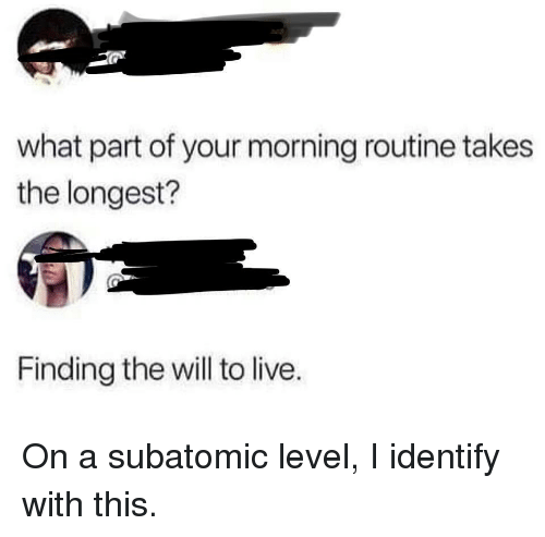 Live, Will, and Level: what part of your morning routine takes  the longest?  Finding the will to live. On a subatomic level, I identify with this.