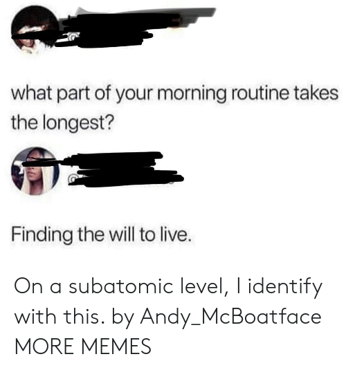 Dank, Memes, and Target: what part of your morning routine takes  the longest?  Finding the will to live. On a subatomic level, I identify with this. by Andy_McBoatface MORE MEMES