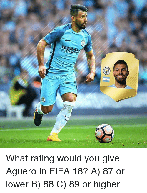 Fifa, Memes, and 🤖: What rating would you give Aguero in FIFA 18? A) 87 or lower B) 88 C) 89 or higher