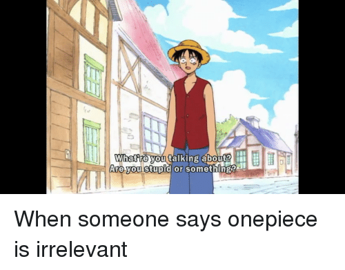 Anime, Onepiece, and You: What re you talking about?  Are you stupid or  mething?  somethingt